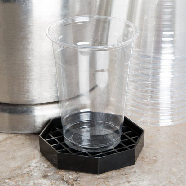 """Choice 4"""" Black Octagonal Drip Tray with Removable Grate"""