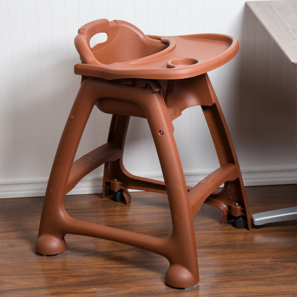 Lancaster Table & Seating Ready-To-Assemble Brown Stackable Plastic Restaurant High Chair with Tray and Wheels