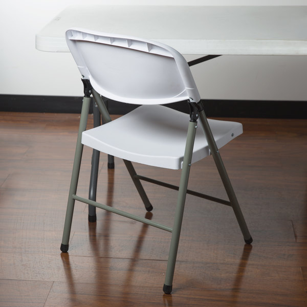 Lancaster Table & Seating White Contoured Blow Molded Folding Chair with Gray Frame