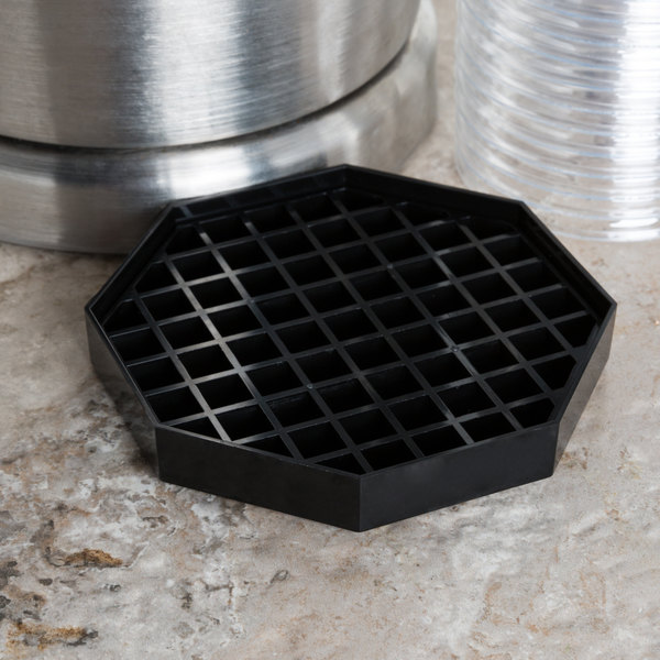 """Choice 5"""" Black Octagonal Drip Tray with Removable Grate"""