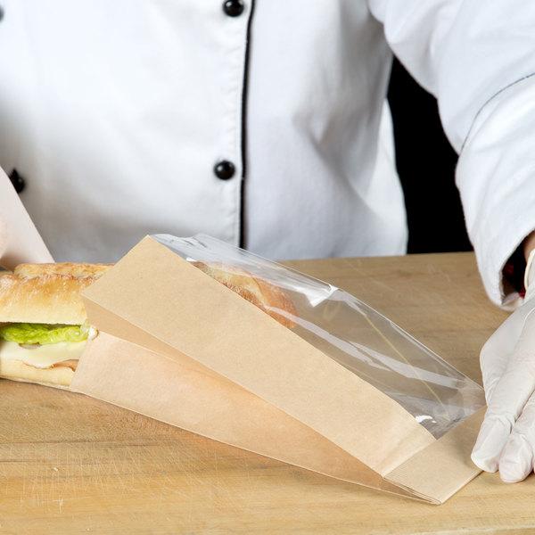 "Bagcraft Packaging 300093 4 1/2"" x 2 1/2"" x 8 1/2"" Dubl View ToGo! Kraft Medium Window Sandwich / Bakery Bag - 500/Case Main Image 4"