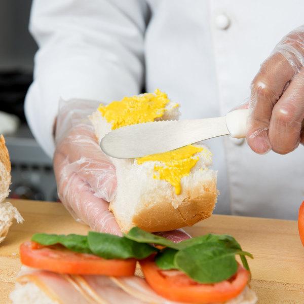 """7 5/8"""" Sandwich Spreader with No-Slip White Handle"""