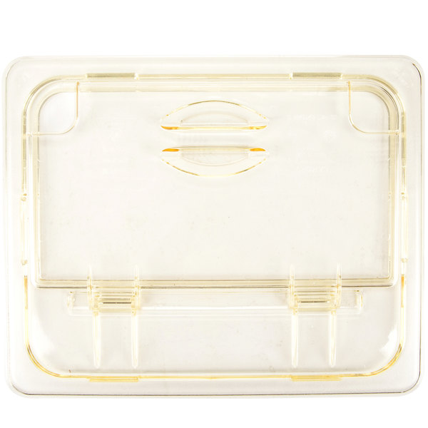 Cambro 20HPLN150 H-Pan™ 1/2 Size Amber High Heat FlipLid with Spoon Notch Main Image 1