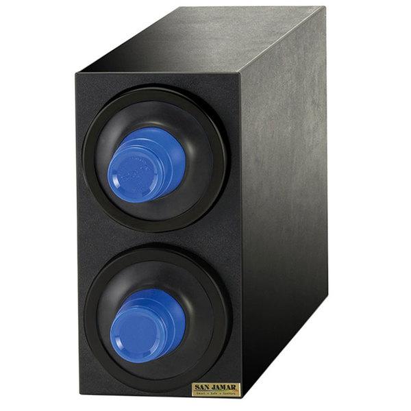 San Jamar C2902BK EZ-Fit Black 2-Slot Vertical 8 - 46 oz. Countertop Cup Dispenser Cabinet with Black Trim Ring Main Image 1