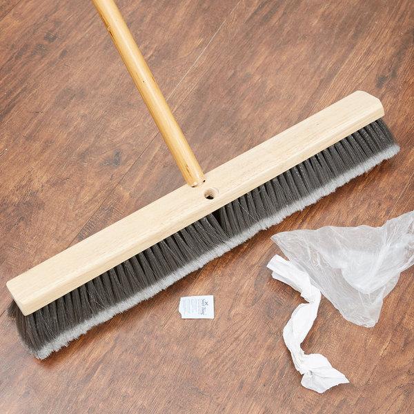 "Carlisle 3621952423 24"" Push Broom Head with Gray Flagged Bristles Main Image 4"