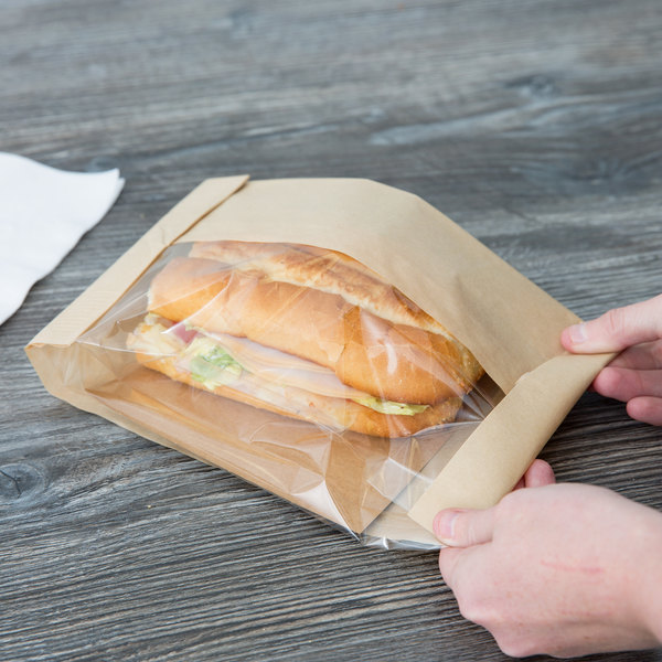 """Bagcraft Packaging 300099 5 3/4"""" x 2 3/4"""" x 10 1/2"""" Dubl View ToGo! Kraft Large Window Sandwich / Bakery Bag with Tray - 250/Case Main Image 4"""