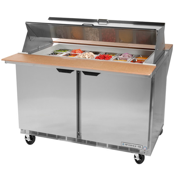 "Beverage-Air SPE72HC-30M-DS Elite Series 72"" 3 Door Mega Top Dual Sided Refrigerated Sandwich Prep Table"