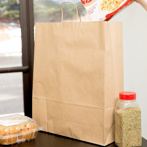 "Duro Super Royal Natural Kraft Paper Shopping Bag with Handles 14"" x 10"" x 15 3/4"" - 200/Bundle Main Image 3"