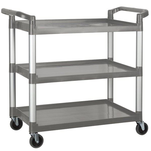 "40 3/4"" x 19 1/2"" x 37 3/8"" Gray Three Shelf Utility Cart / Bus Cart"
