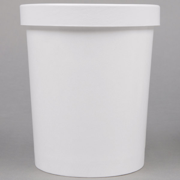 Choice 32 oz. Double Poly-Coated White Paper Soup / Hot Food Cup with Vented Paper Lid - 250/Case