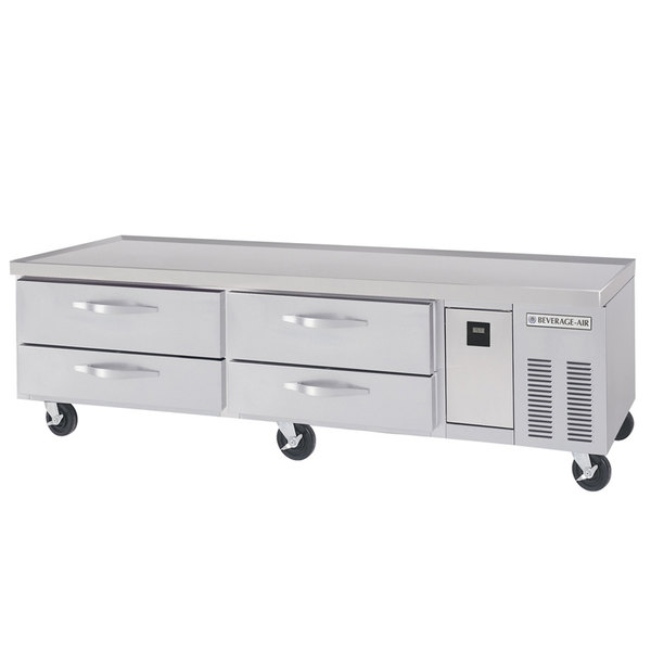 "Beverage-Air WTRCS72D-1-FLT 72"" Four Drawer Refrigerated Chef Base with Flat Top"