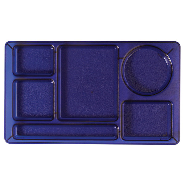 """Cambro 915CW431 Camwear (2 x 2) 8 3/4"""" x 15"""" Translucent Blue Six Compartment Serving Tray - 24/Case"""