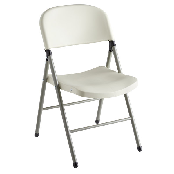 Lancaster Table & Seating Almond Contoured Blow Molded Folding Chair with Charcoal Frame
