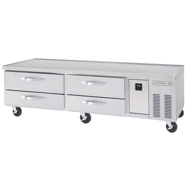 """Beverage-Air WTRCS84D-1-FLT 84"""" Four Drawer Refrigerated Chef Base with Flat Top Main Image 1"""