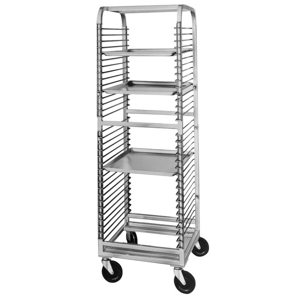 Channel 566NS 33 Pan End Load Stainless Steel Bun / Sheet Pan Rack with Wire Slides - Assembled Main Image 1