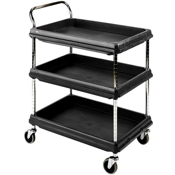Great Metro BC2636 3DBL Black Utility Cart With Three Deep Ledge Shelves 38 3/4