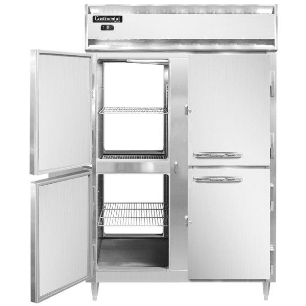 "Continental DL2F-SA-PT-HD 52"" Solid Half Door Pass-Through Freezer Main Image 1"
