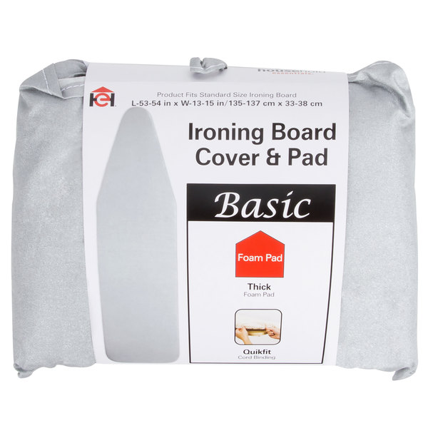 """Silver Silicone-Coated Ironing Board Cover with Storage Pocket for 14"""" x 54"""" Ironing Boards"""