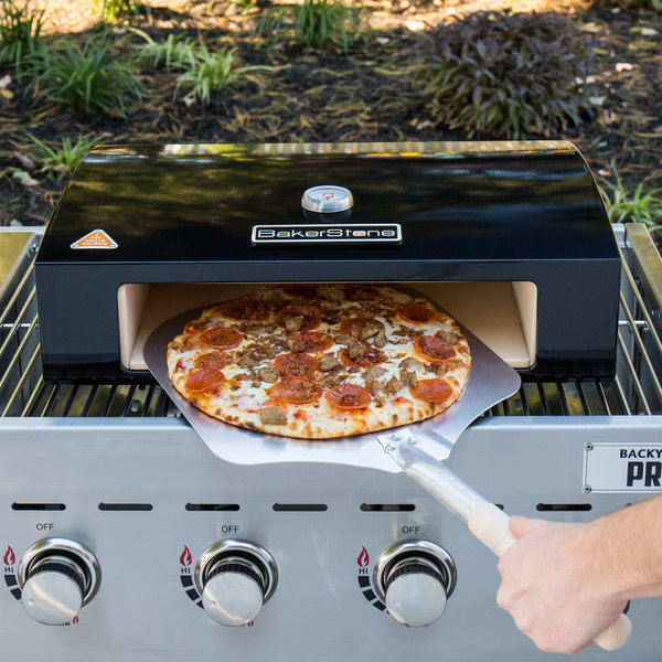 """BakerStone Black Ceramic Original Grill Top Pizza Oven with Pizza Oven Peel, Cutter, and 12"""" Aluminum Tray"""