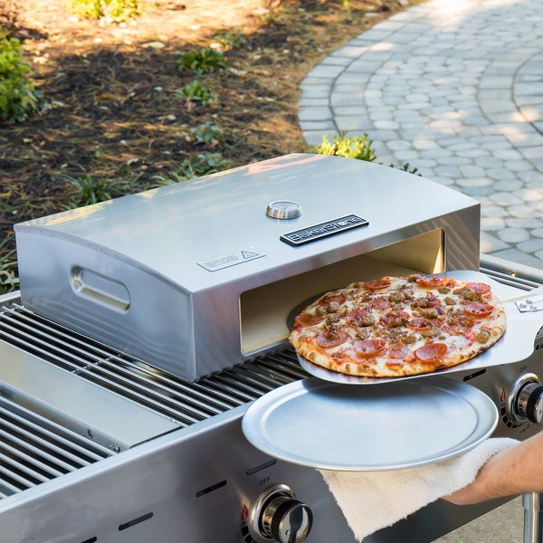 "BakerStone Stainless Steel Commercial Grill Top Pizza Oven with Pizza Oven Peel, Cutter, and 12"" Aluminum Tray"