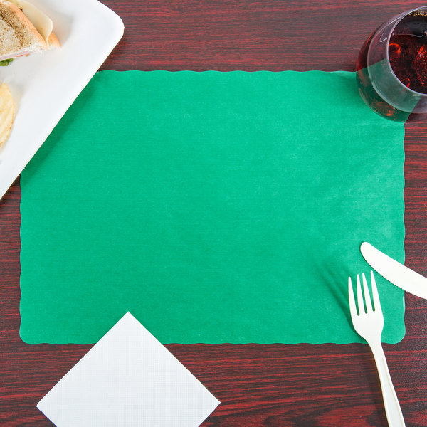"""10"""" x 14"""" Green Colored Paper Placemat with Scalloped Edge - 1000/Case"""