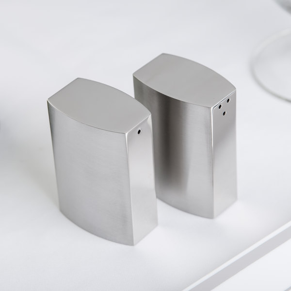 American Metalcraft SPDX55 2.5 oz. Stainless Steel Side Pour Salt and Pepper Shaker Set
