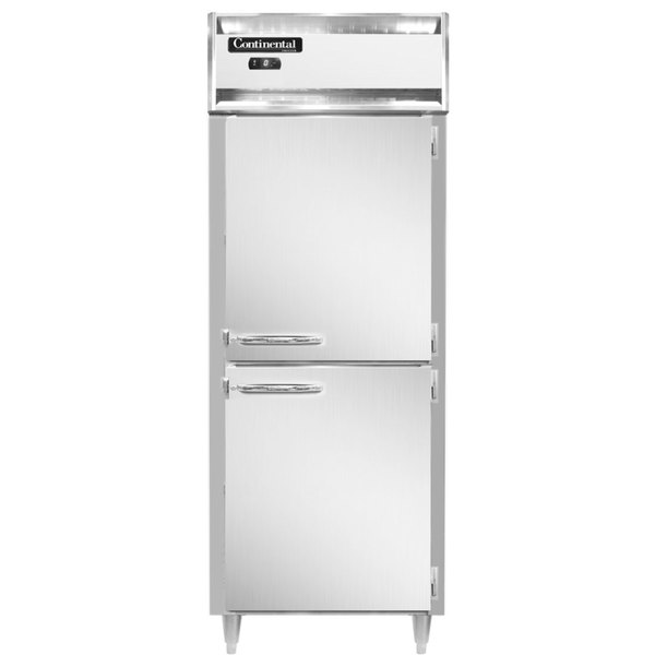 """Continental DL1FES-HD 29"""" Extra-Wide Shallow Depth Solid Half Door Reach-In Freezer Main Image 1"""