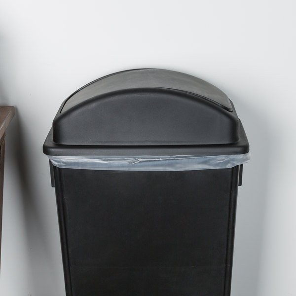 Lavex Janitorial Black Slim Trash Can Swing Dome Lid