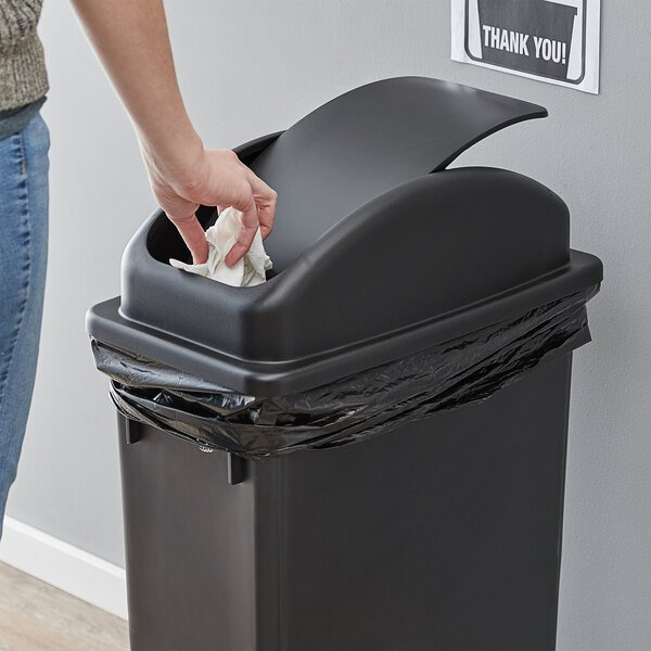 Lavex Janitorial Black Slim Rectangular Trash Can Dome Swing Lid Main Image 2