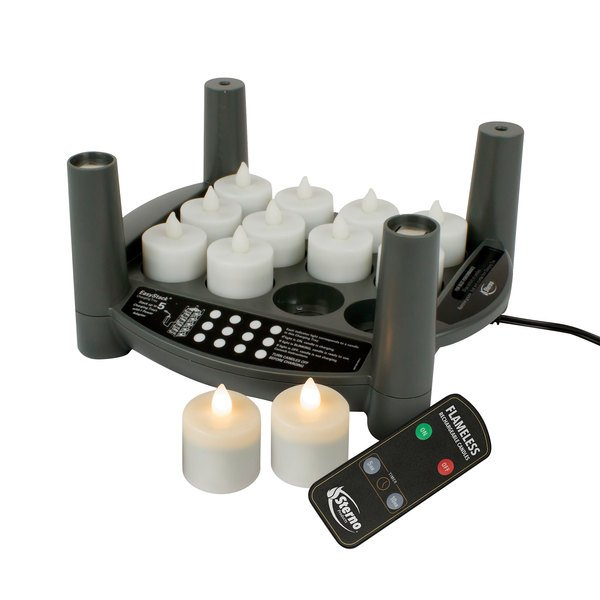 Sterno 60306 2.0 12 Piece Warm White Rechargeable Flameless Tea Light Set with EasyStack Charging Base, Power Adapter and Timer Remote Starter Kit Main Image 1