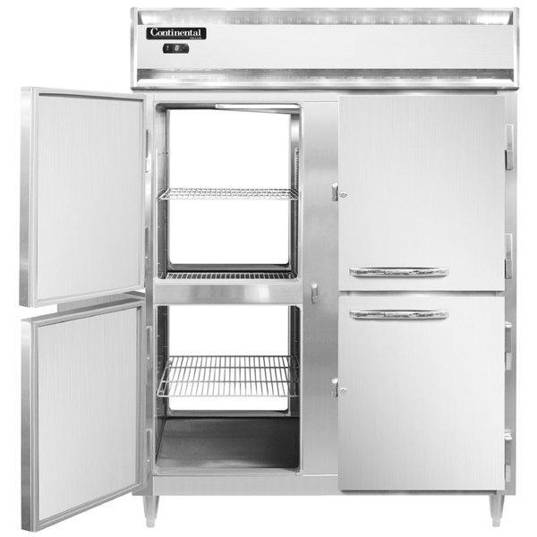"Continental DL2FE-SS-PT-HD 57"" Extra-Wide Solid Half Door Pass-Through Freezer Main Image 1"