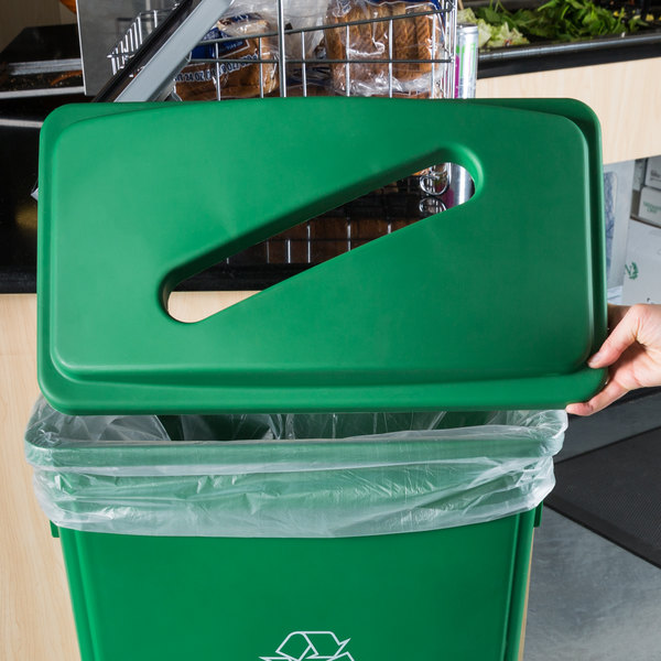 Lavex Janitorial Green Slim Rectangular Recycling Trash Can Lid with Paper Slot Main Image 4