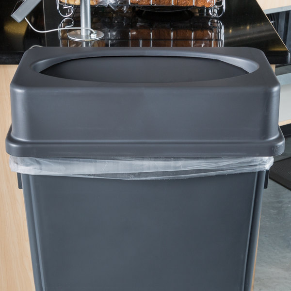 Lavex Janitorial Gray Slim Rectangular Trash Can Drop Shot Lid Main Image 2
