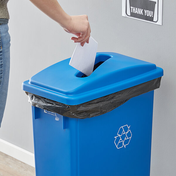 Lavex Janitorial Blue Slim Rectangular Recycling Trash Can Lid with Paper Slot Main Image 2