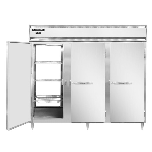 """Continental DL3FE-SS-PT 86"""" Extra-Wide Solid Door Pass-Through Freezer Main Image 1"""