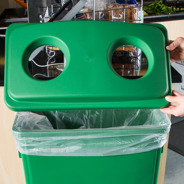 Lavex Janitorial Green Slim Rectangular Recycling Trash Can Bottle / Can Lid Main Image 2