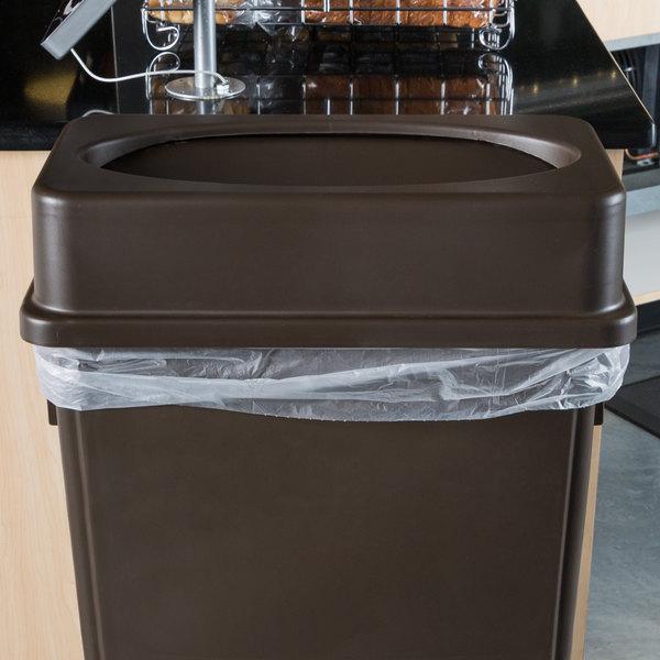 Lavex Janitorial Brown Slim Rectangular Trash Can Drop Shot Lid Main Image 2