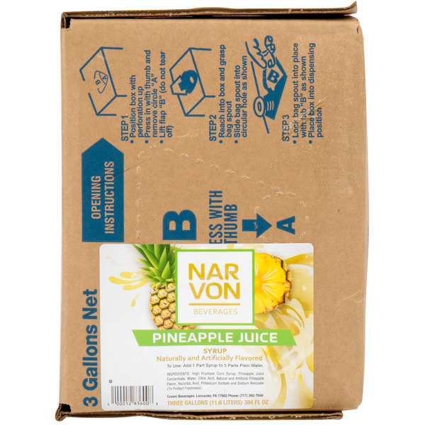 Narvon 3 Gallon Bag in Box Pineapple Juice Syrup
