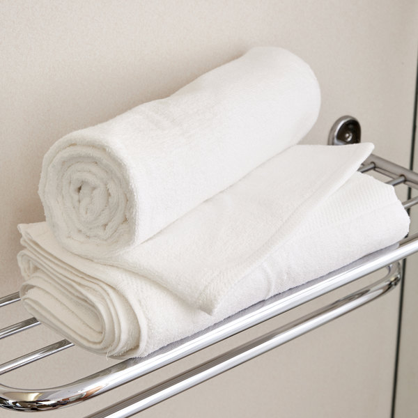 "Lavex Lodging 27"" x 54"" 100% Combed Egyptian Cotton Hotel Bath Towel 15 lb. - 12/Pack"