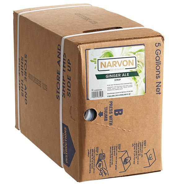 Narvon 5 Gallon Bag in Box Ginger Ale Beverage / Soda Syrup