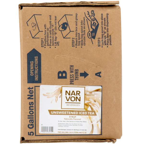 Narvon 5 Gallon Bag in Box Unsweetened Iced Tea Syrup