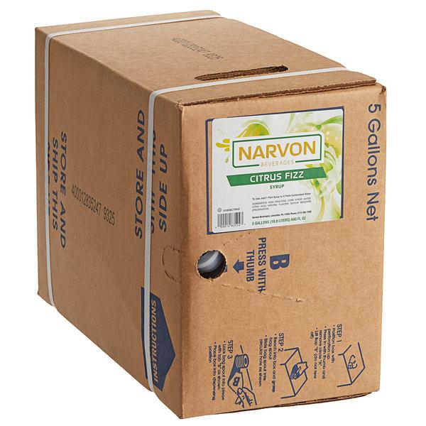 Narvon 5 Gallon Bag in Box Citrus Fizz Beverage / Soda Syrup