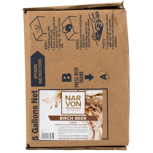 Narvon Bag In Box Old Fashioned Birch Beer Beverage / Soda Syrup - 5 Gallon