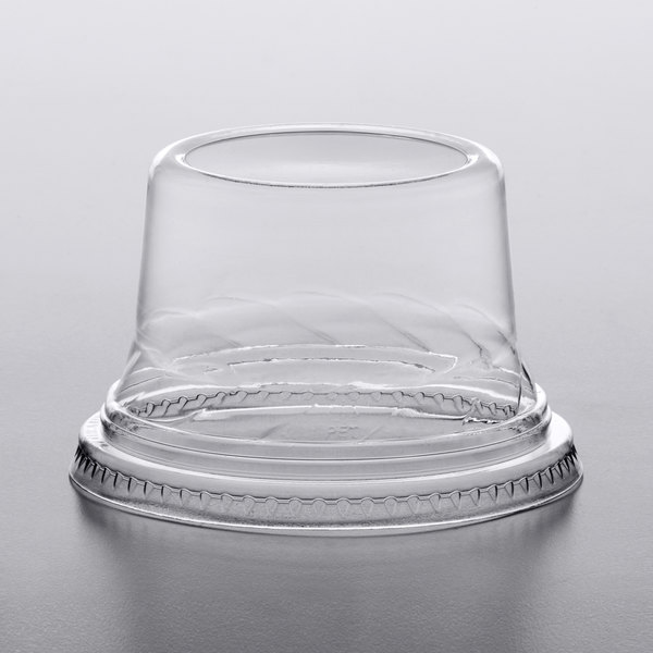 Choice 5-12 oz. Clear Plastic Tall Dome Lid, No Hole  - 1000/Case