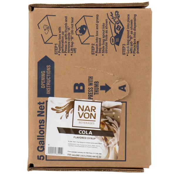 Narvon Bag In Box Old Fashioned Cola Beverage / Soda Syrup - 5 Gallon