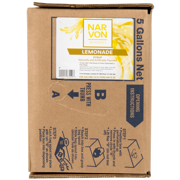 Narvon 5 Gallon Bag in Box Lemonade Syrup