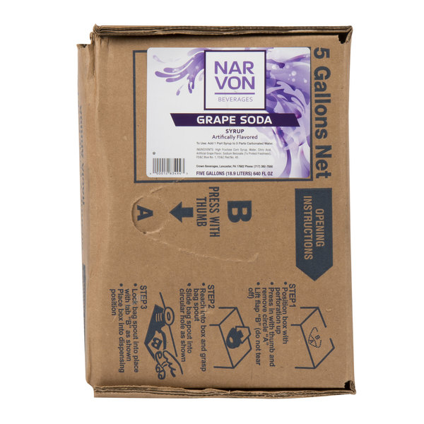 Narvon 5 Gallon Bag in Box Grape Beverage / Soda Syrup