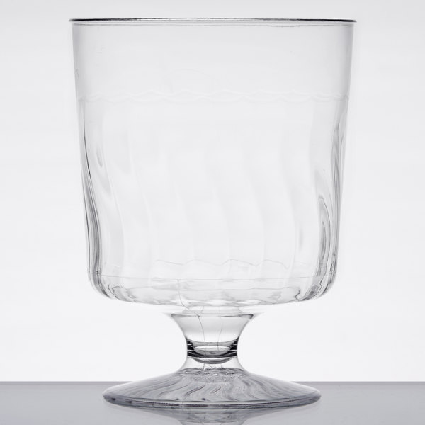 Fineline Flairware 2208 8 oz. 1-Piece Clear Plastic Wine Goblet  - 10/Pack