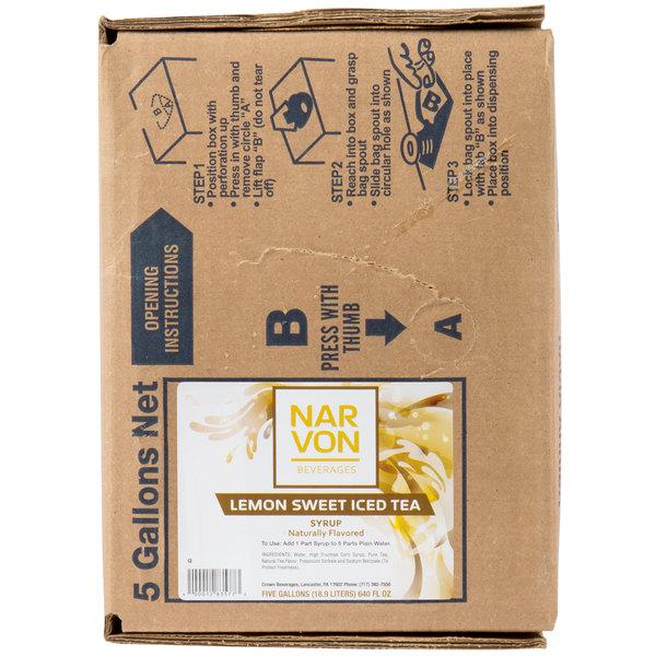 Narvon Bag In Box Lemon Sweet Iced Tea Syrup - 5 Gallon