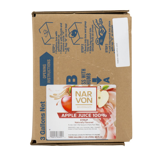 Narvon Bag In Box Apple Juice Syrup - 3 Gallon